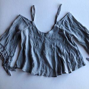 Haute Society Boho Cold Shoulder Crop Lace Fringe